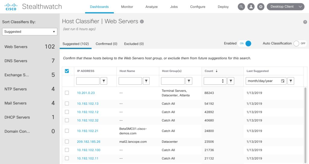 Cisco Stealthwatch Host Classifier Application Dashboard