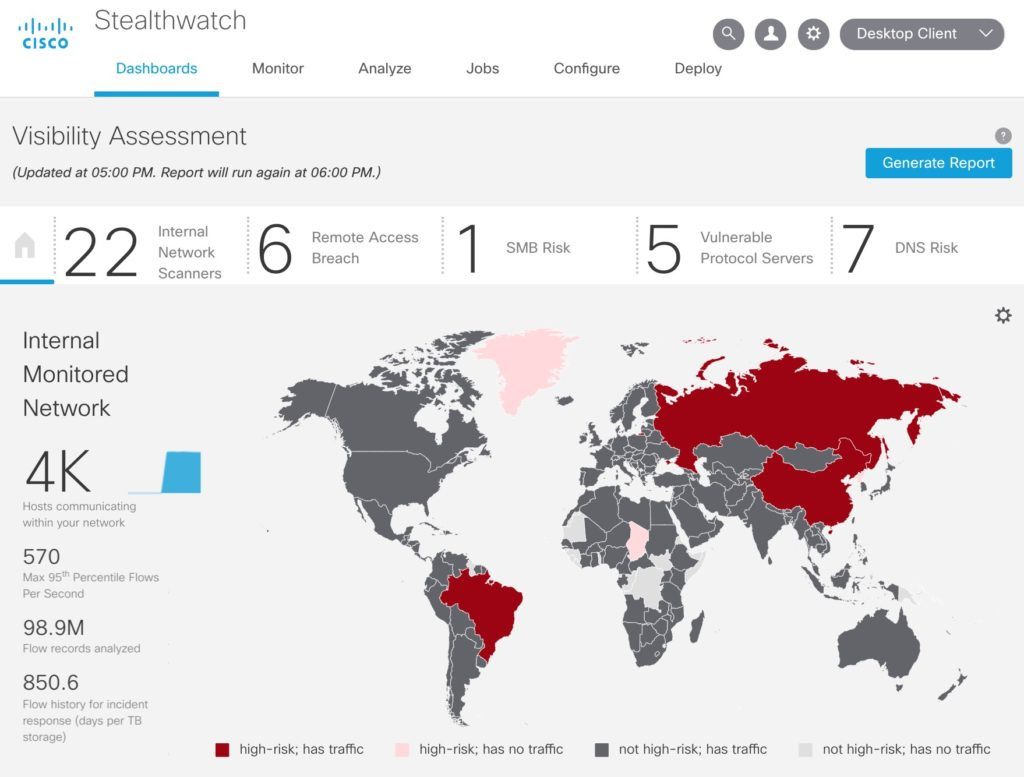 Cisco Stealthwatch Visibility Assessment Dashboard