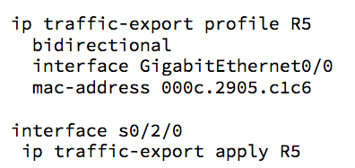 IP traffic export config